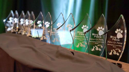 2014 BlogPaws Nose-To-Nose Award trophies