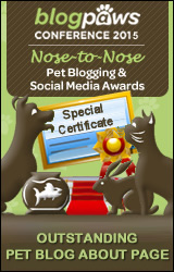 BlogPaws 2015 Nose-to-Nose Awards Special Certificate badge