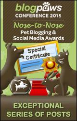 BlogPaws 2015 Nose-to-Nose Awards Special Certificate badge