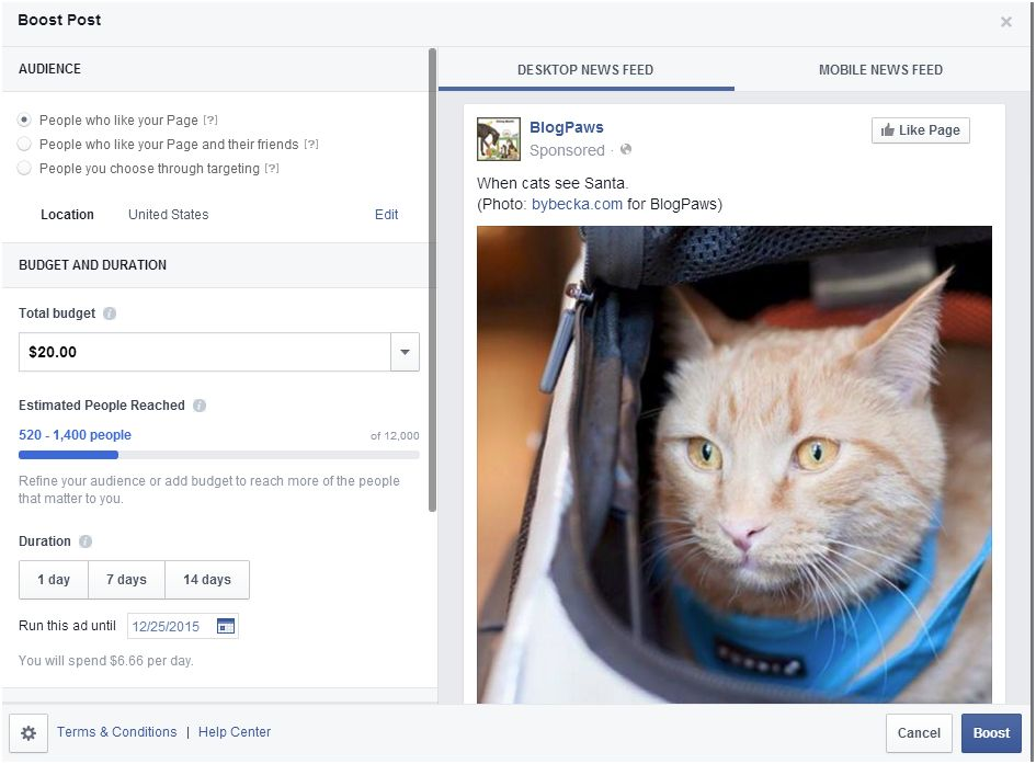 Behind the scenes of a Facebook boost post