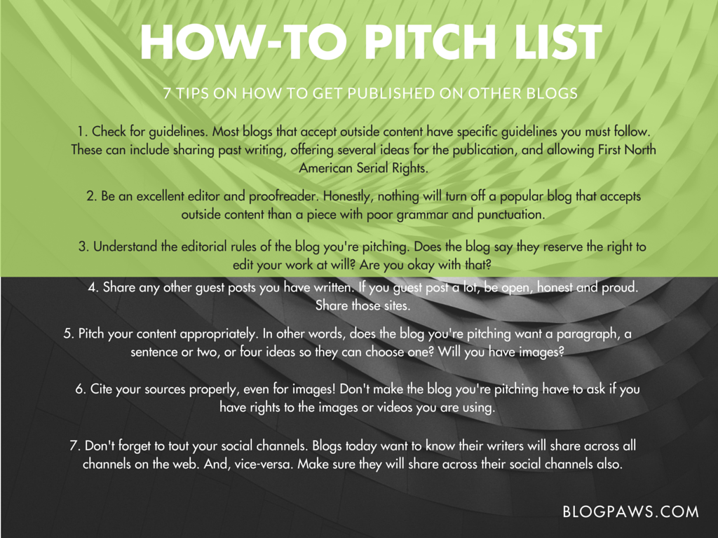 how to pitch blogs list