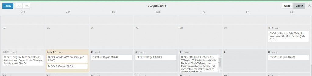 Calendar view of Trello board
