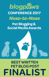 BEST WRITTEN PET BLOG POST Nose-to-Nose 2017 - FINALIST badge