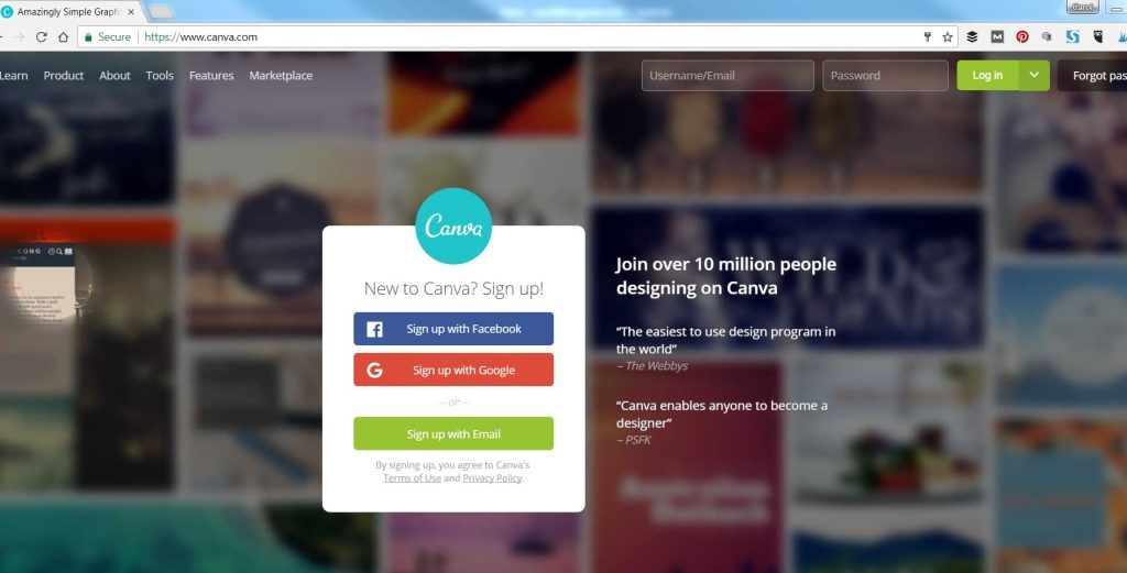 Make an account in Canva
