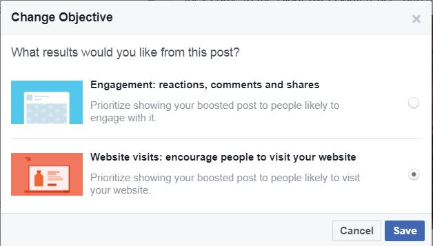 Facebook boost objectives