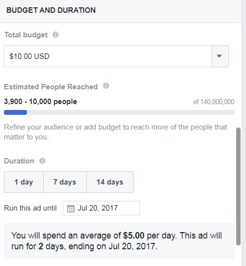 Amount to spend on a Facebook post boost