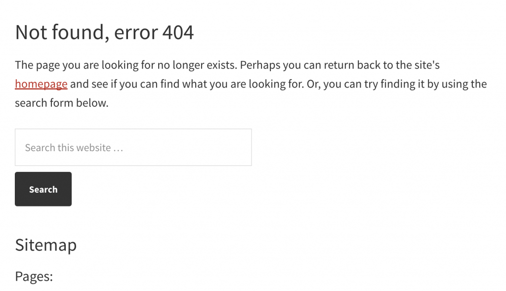 Default 404 page