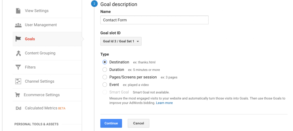 How to set a goal in Google Analytics