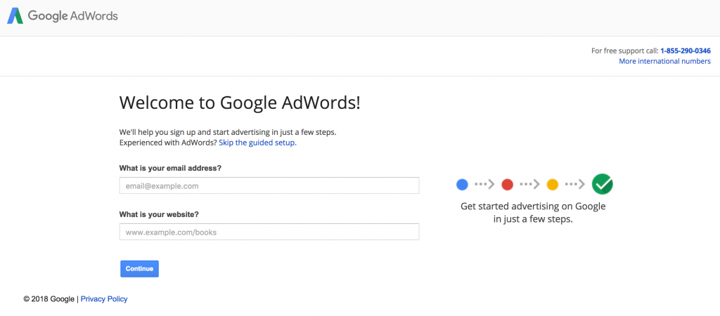 Signup for Google AdWords