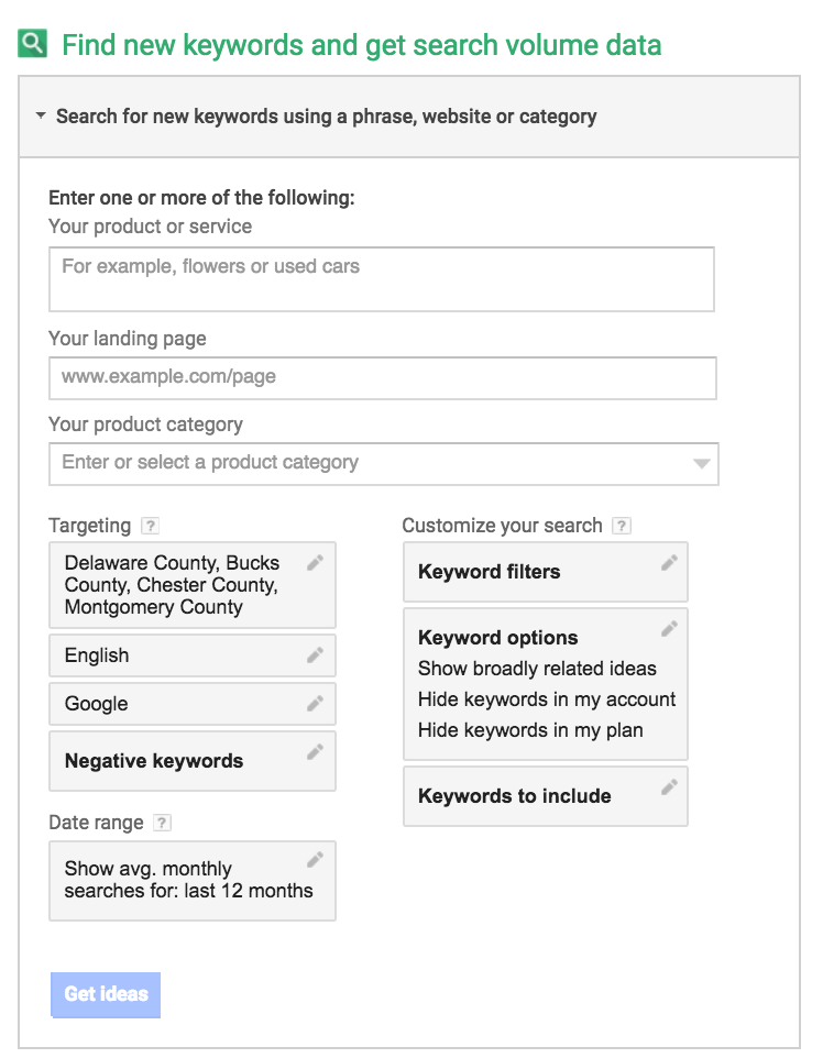 Google Keyword Planner options