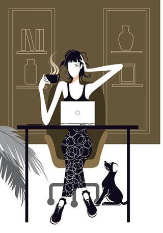 Woman-dog-computer