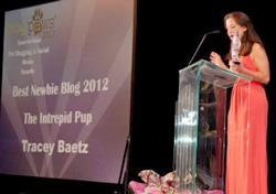 Emcee Wendy Diamond announcing the Best Newbie Blog at the BlogPaws 2012 Nose-to-Nose Pet Blogging & Social Media Awards ceremonies