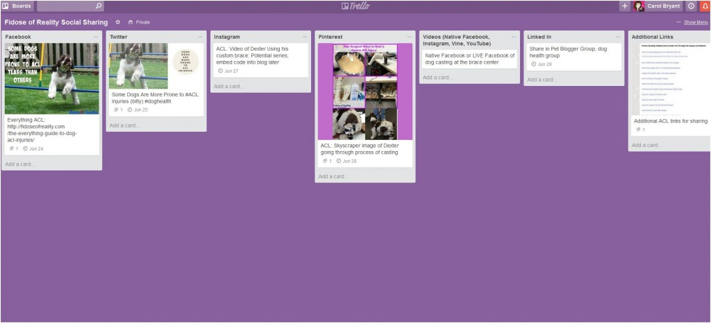 Social media planning for blog post in Trello