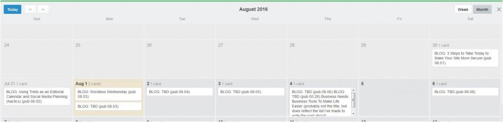 Calendar view of Trello board