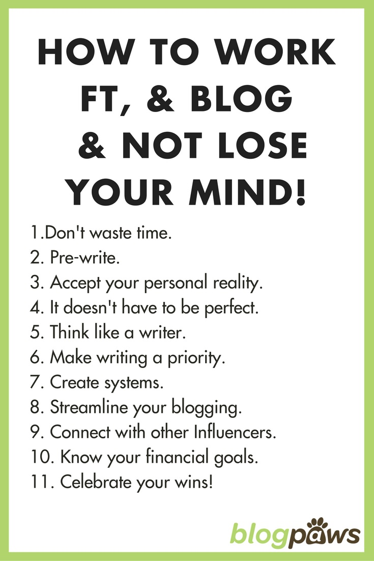 Checklist for working full time and blogging and not losing your mind