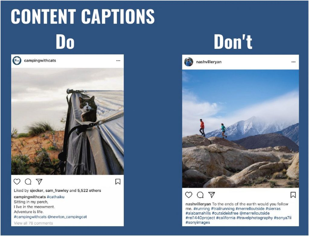 Content captions for Instagram