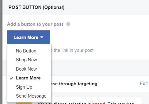List of buttons for Facebook boost