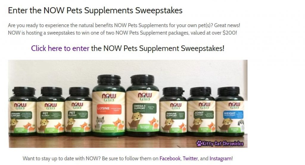 NOW pets supplements