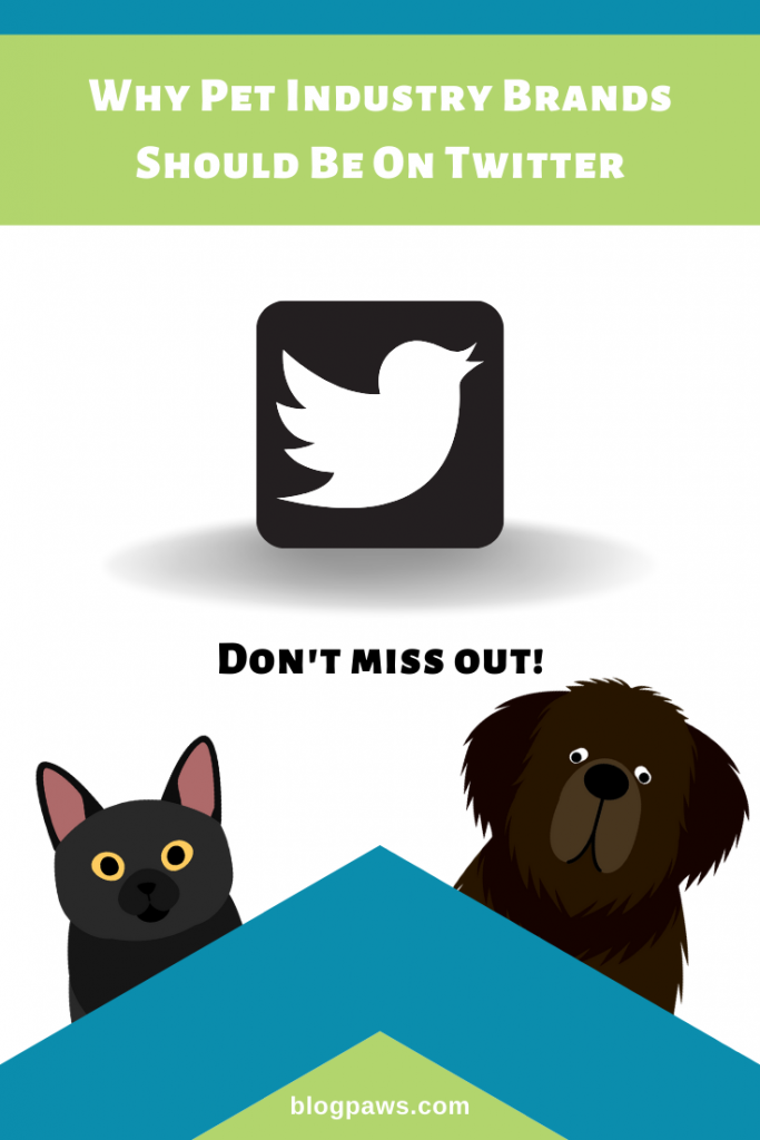 Why Pet Brands Need Twitter with Twitter logo and a black cat and a black dog