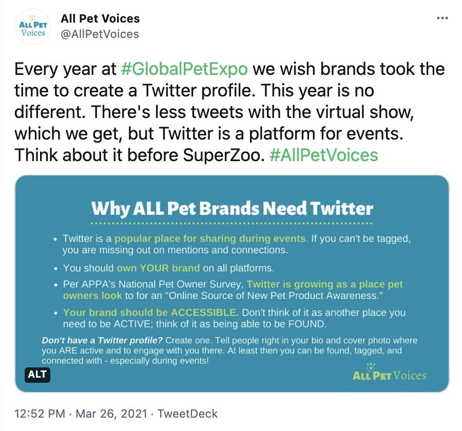Tweet from AllPetVoices with Image about Why Pet Brands Should be on Twitter