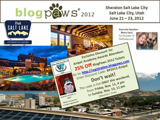 BlogPaws 2012 - Anipal Academy Awards Discount Offer